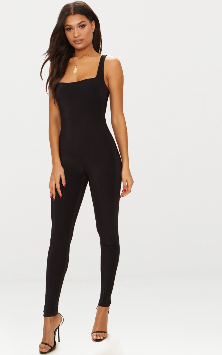 Black Second Skin Slinky Square Neck Jumpsuit 1