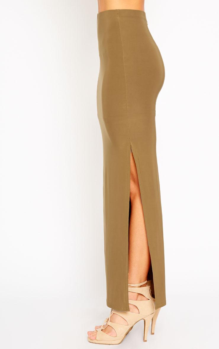 Helsa Khaki Slinky Split Maxi Skirt 3