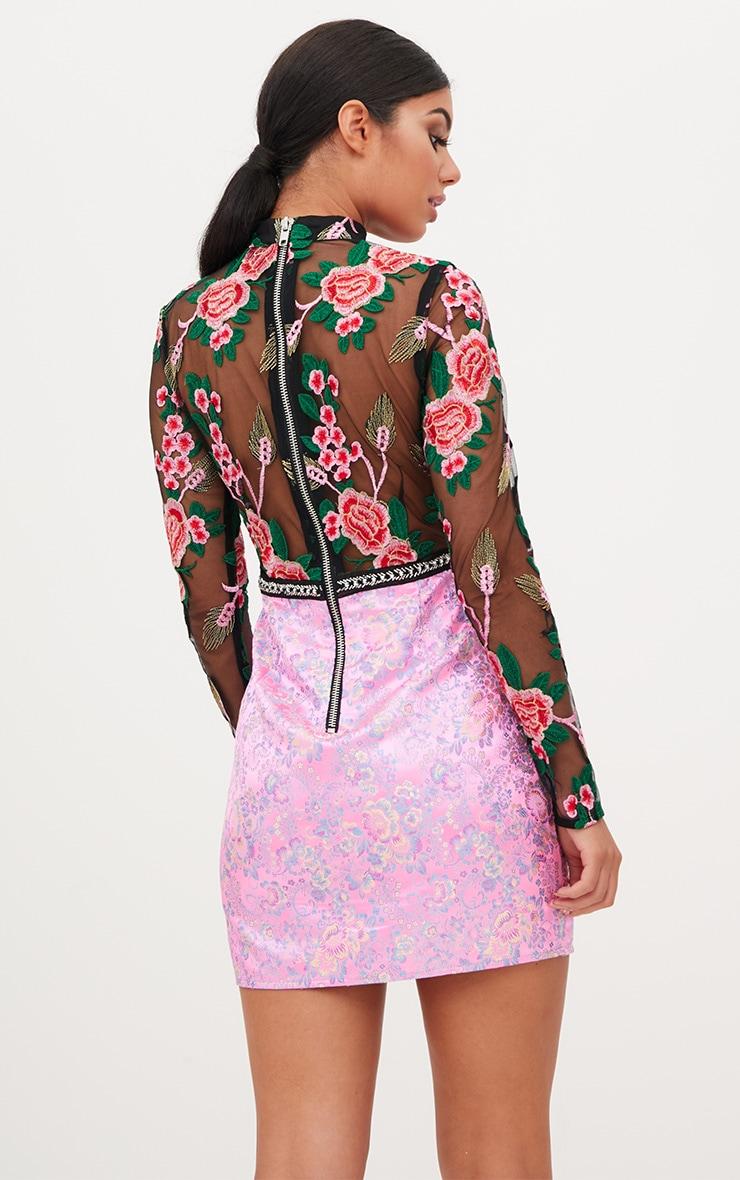 Premium Pink Lace Detail High Neck Jacquard Bodycon Dress 3