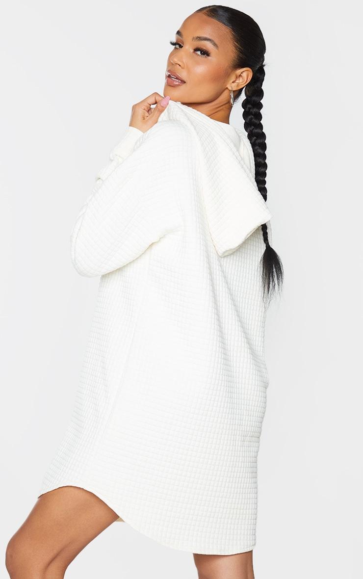 Cream Waffle Button Up Hooded Sweat Dress 2