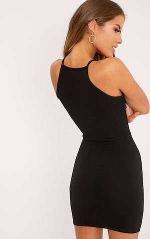 Petite Black High Neck Bodycon Mini Dress  image 2