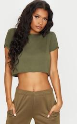 Basic Khaki Roll Sleeve Crop T Shirt 1