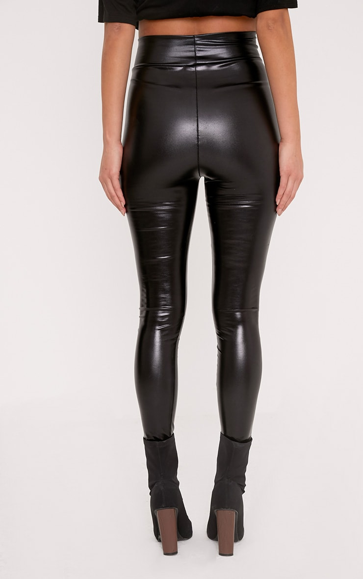 Tiana Black Wet Look Leggings 4