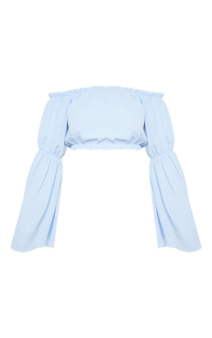 Blue Flute Sleeve Bardot Crop Blouse  3