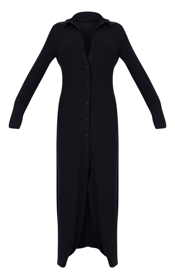 Black Brushed Rib Button Up Collar Detail Maxi Dress 5