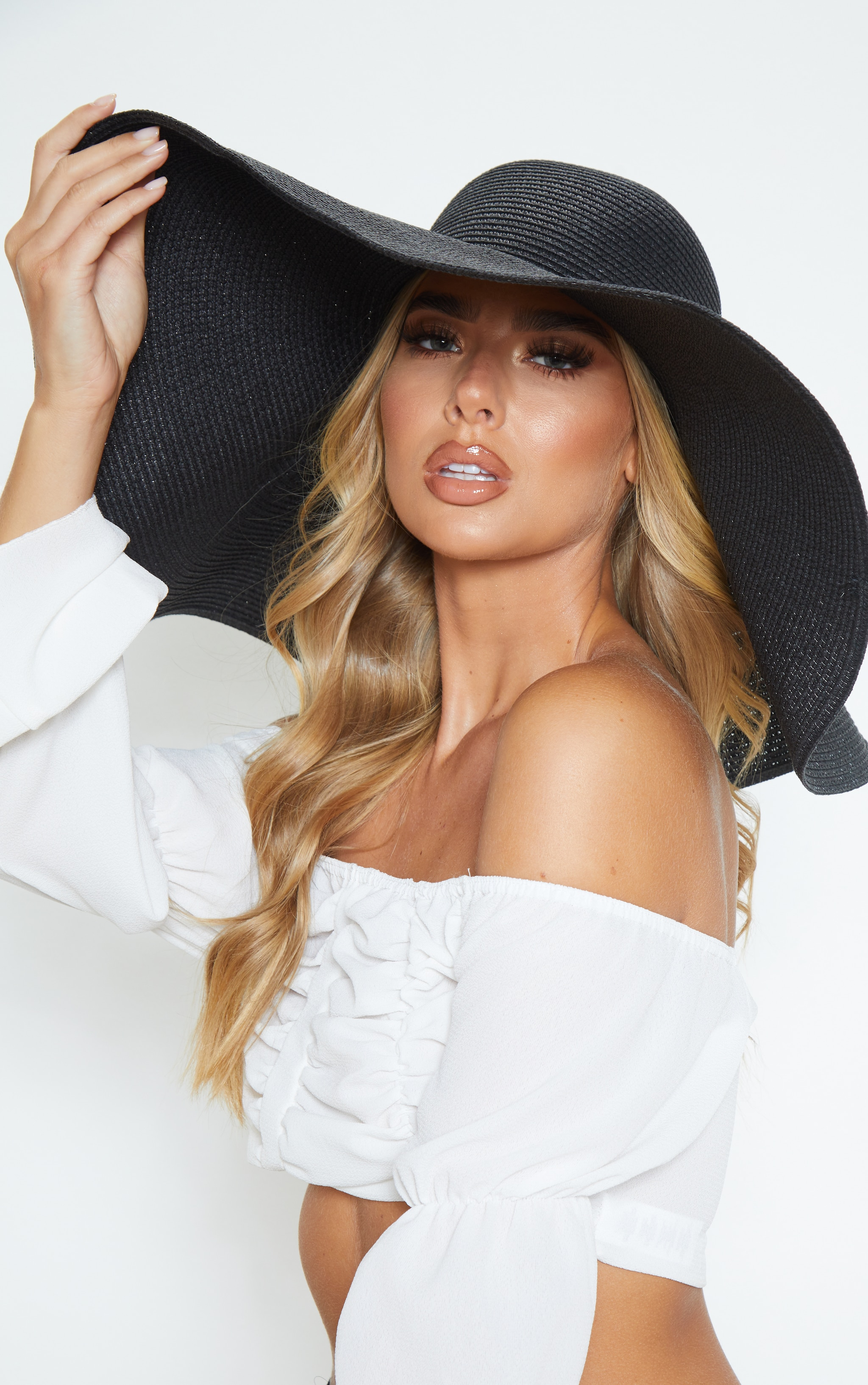 Black Extra Large Oversized Sun Hat 1