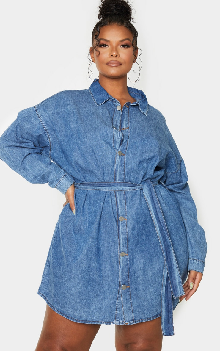 Plus Mid Blue Wash Belt Detail Denim Dress 5