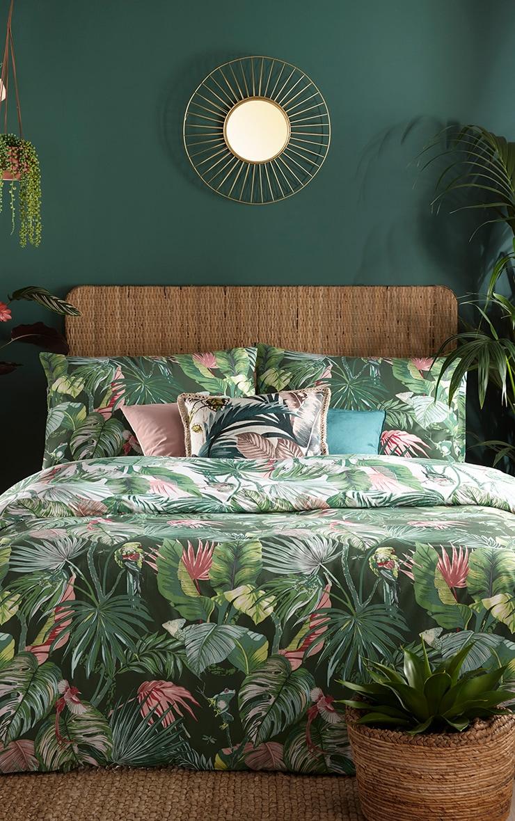Green Tropical Leaf Print Double Duvet Set 2