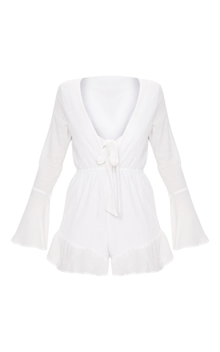 White Cheesecloth Tie Front Bell Sleeve Romper 4