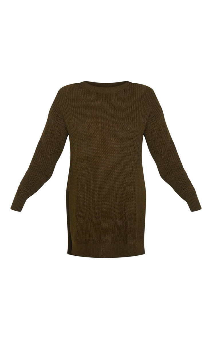 Dark Khaki Round Neck Side Split Sweater 3
