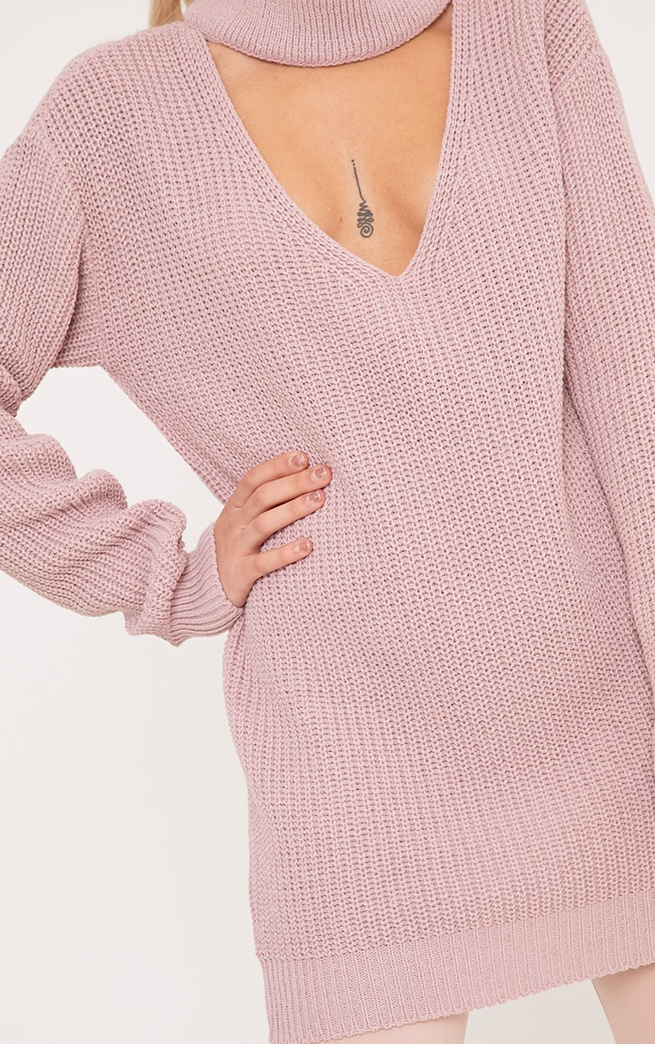 Katharine Blush Choker Detail Oversized Jumper  5
