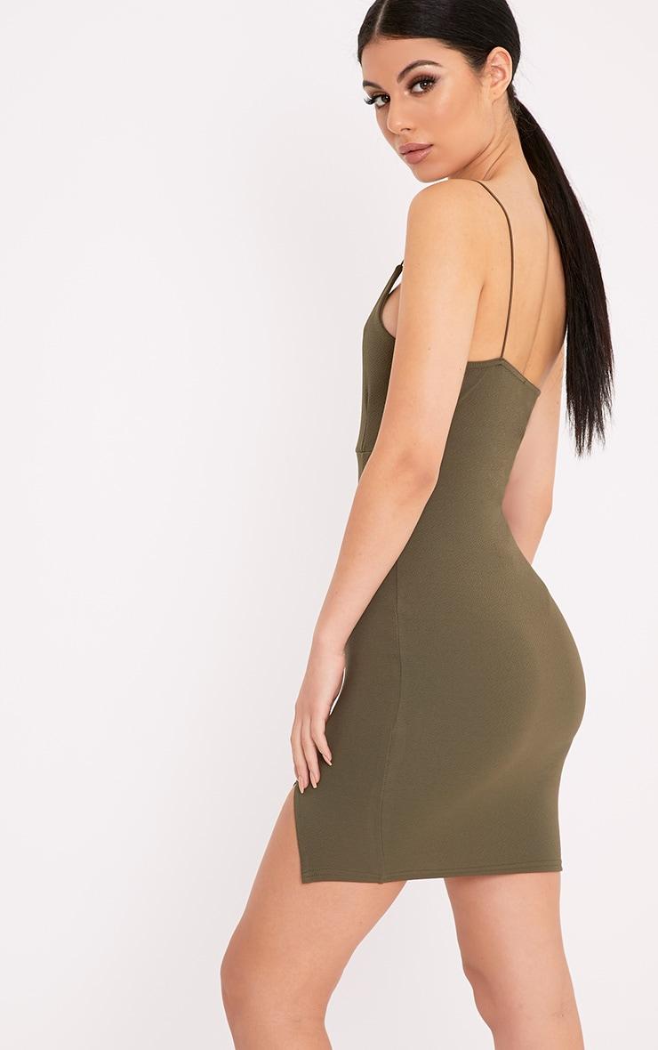 Camayah Khaki Strappy Plunge Bodycon Dress 2
