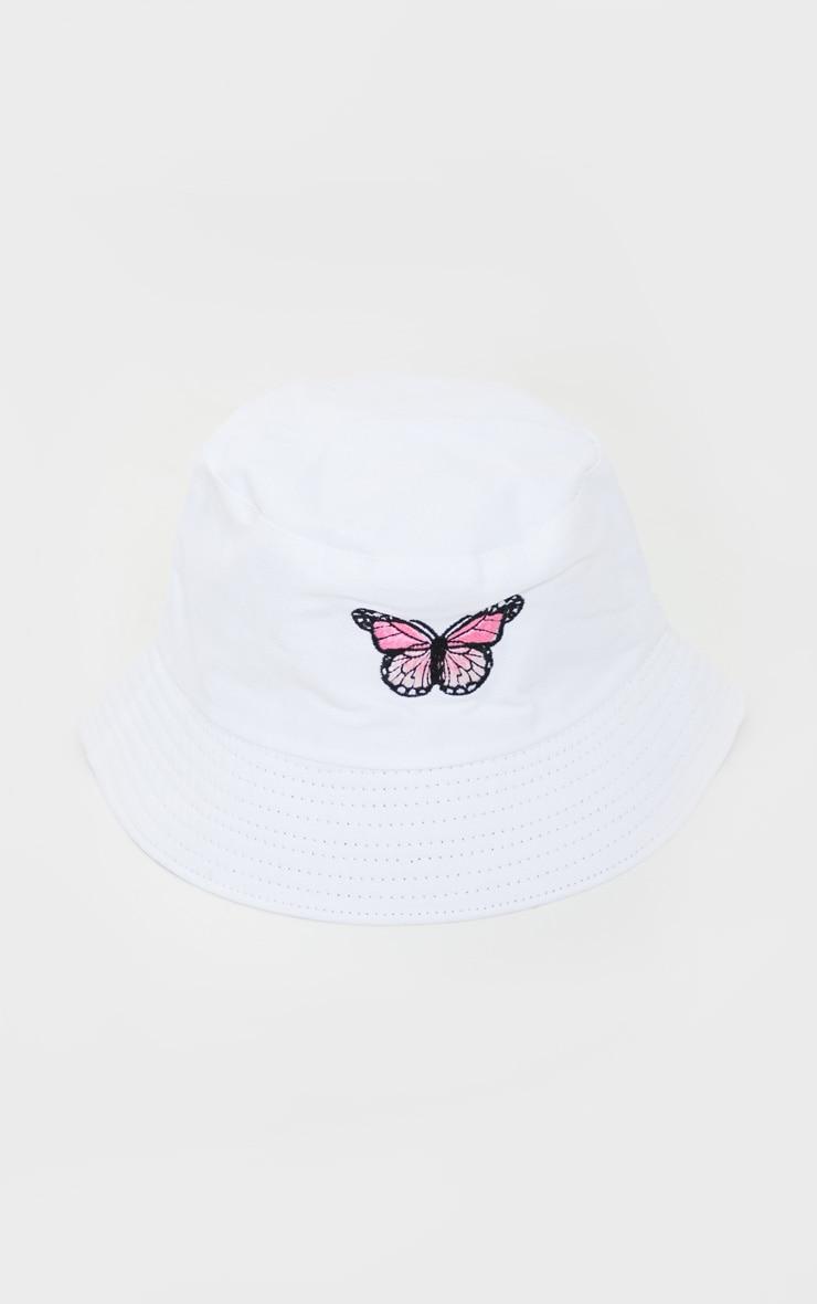 White Butterfly Bucket Hat 2