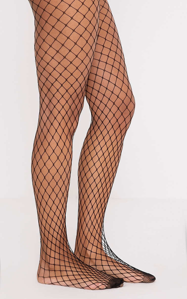Kelsie Black Medium Net Fishnet Tights 2
