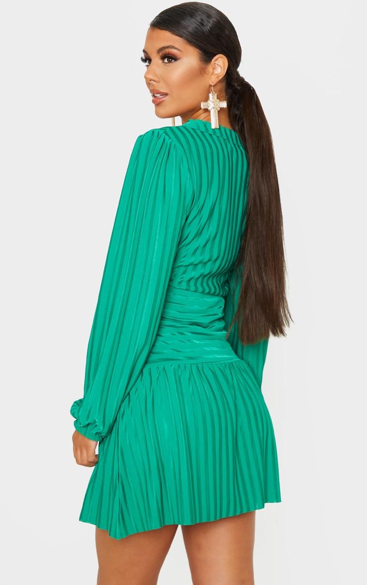 Bright Green Striped Puff Sleeve Wrap Skater Dress 3