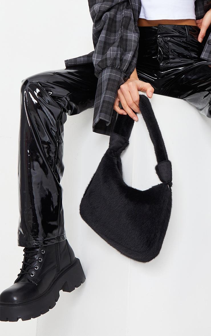 Petite Black Straight Leg Vinyl Trousers 4