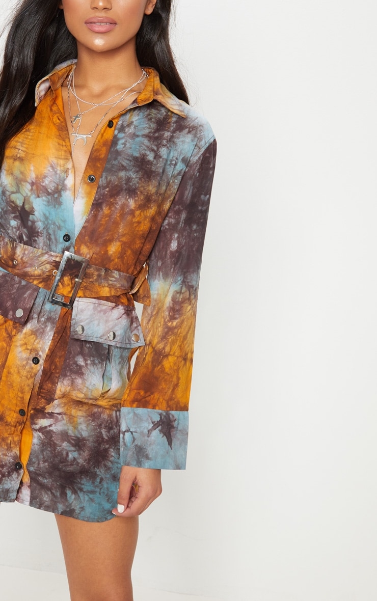 Multi Acid Wash Shirt Dress 5