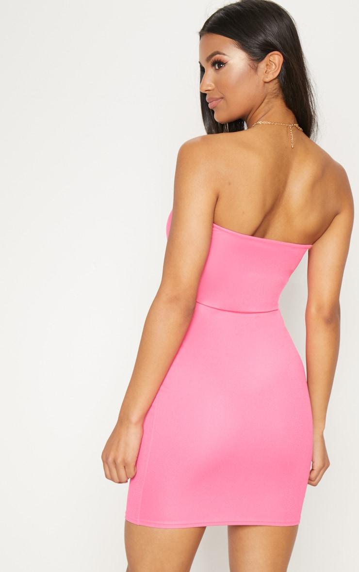 Neon Pink Bandeau V Bar Bodycon Dress 2
