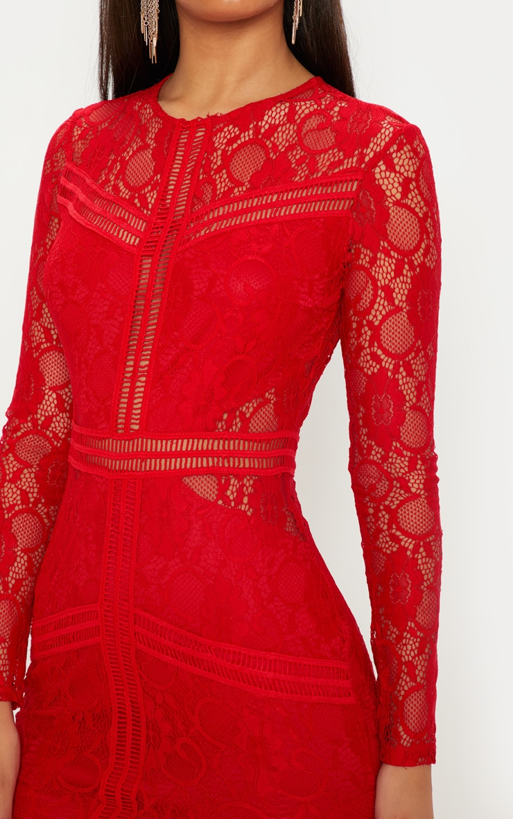 92a9cecff27 Red Lace Ladder Detail Frill Hem Bodycon Dress