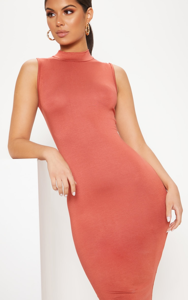 Terracotta High Neck Sleeveless Midi Dress 5