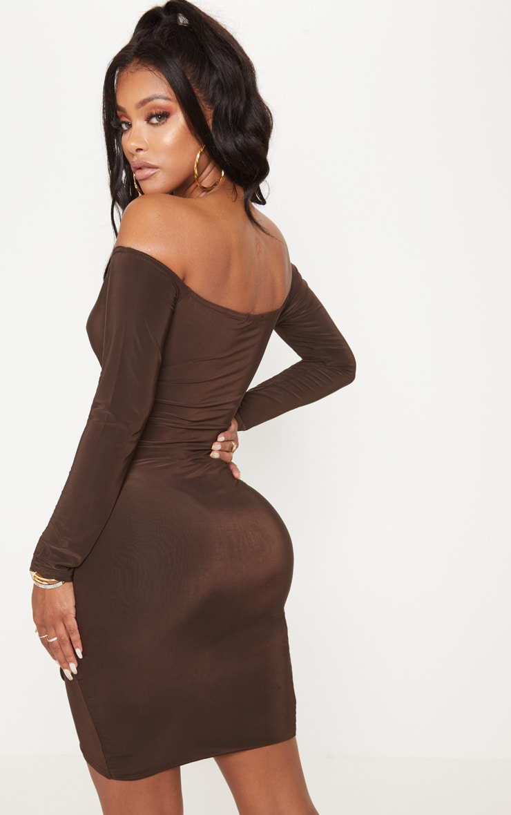 Shape Chocolate Slinky Ruched Detail bardot Dress 2