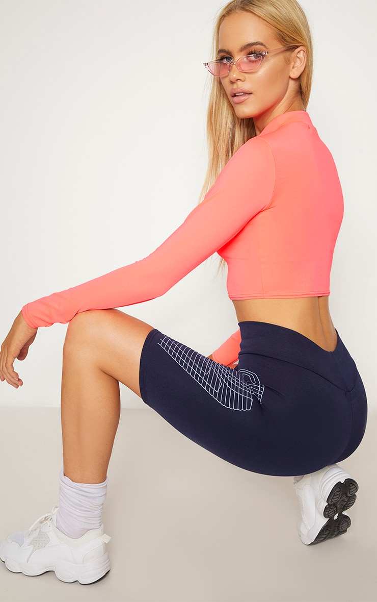 Neon Pink High Neck Long Sleeve Crop 2