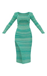 Green Two Tone Cut Out Midaxi Dress 5