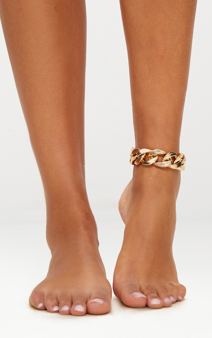 Grosse chaîne de cheville dorée 1