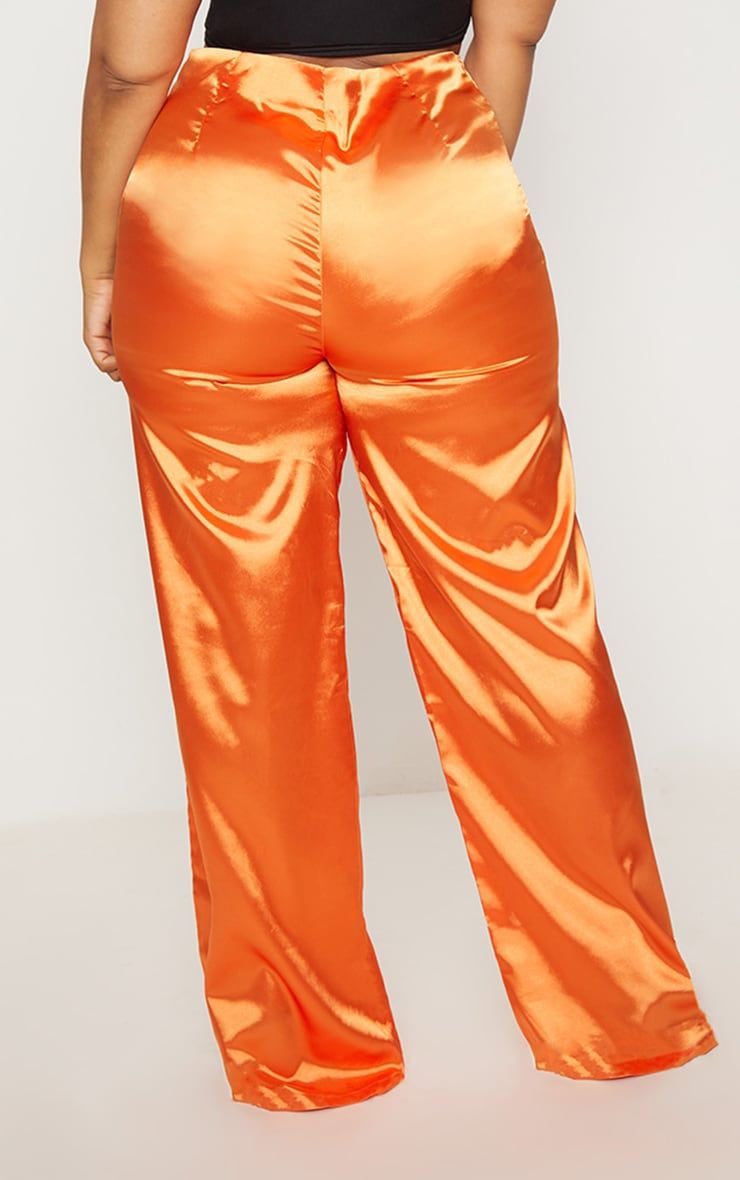 Plus Orange Satin Wide Leg Pants 4