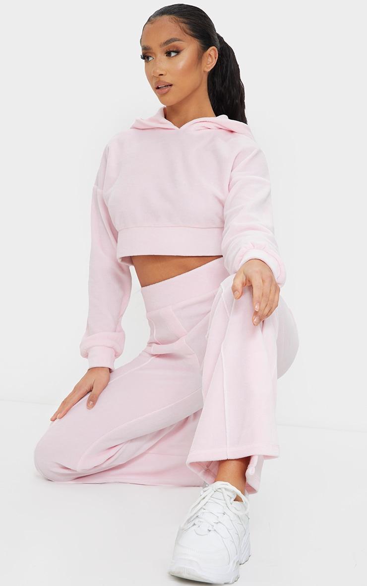 Petite Baby Pink Velour Elastic Hem Cropped Hoodie 3