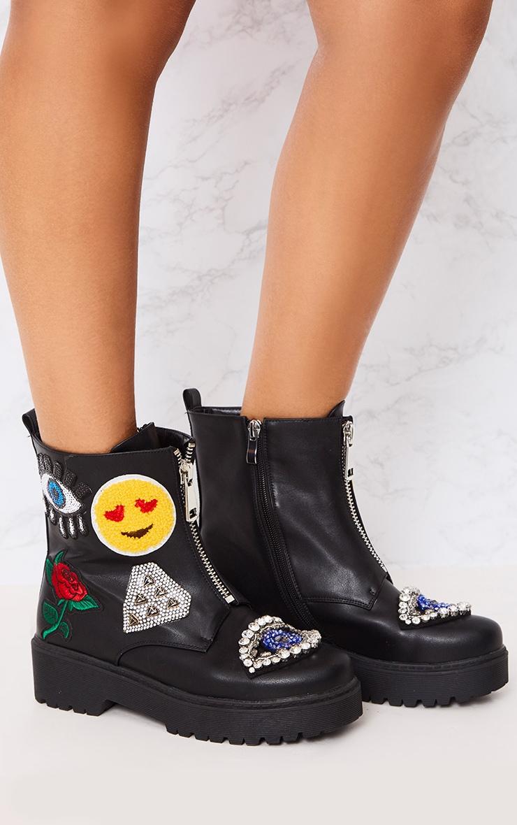 Carinia Black Applique Ankle Boots 3