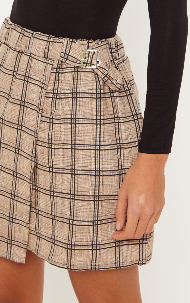 Stone Check Buckle Detail Mini Skirt 5