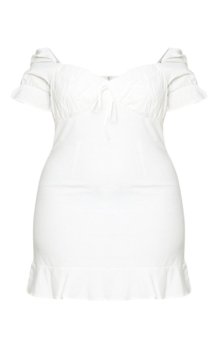 Plus White Woven Puff Sleeve Frill Hem Tea Dress 6