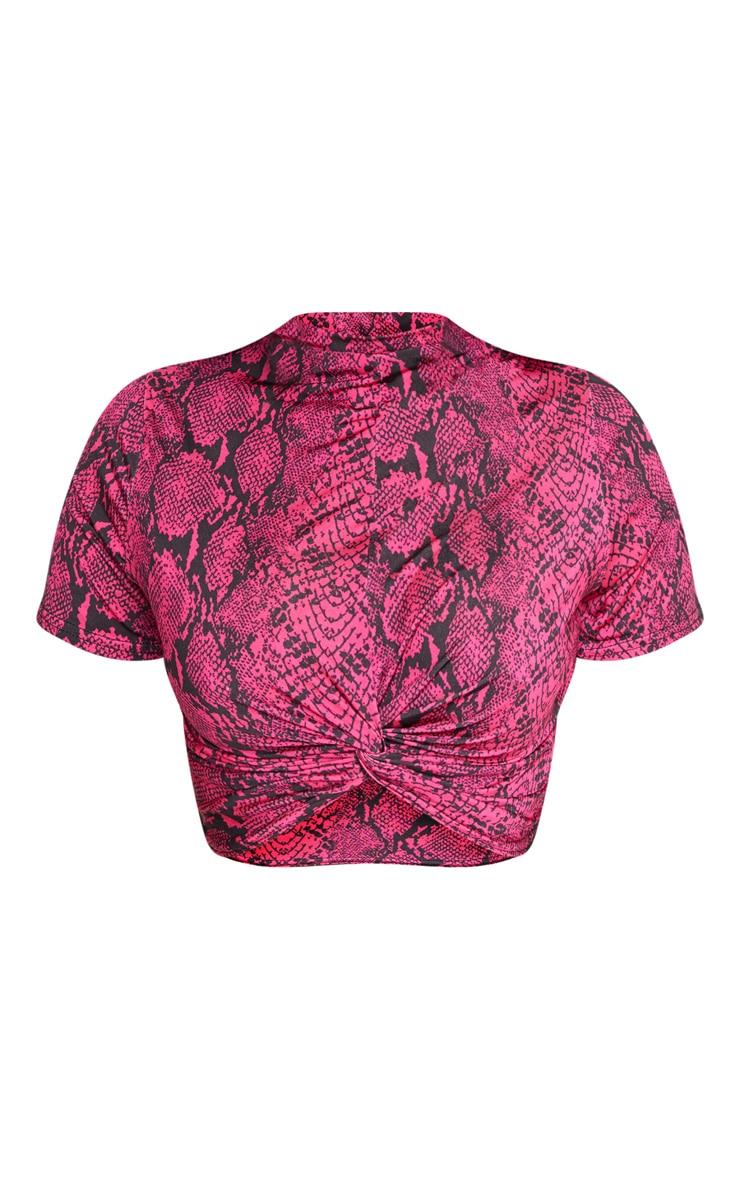 Shape Neon Pink Snake Print Knot Front Short Sleeve Crop Top 3