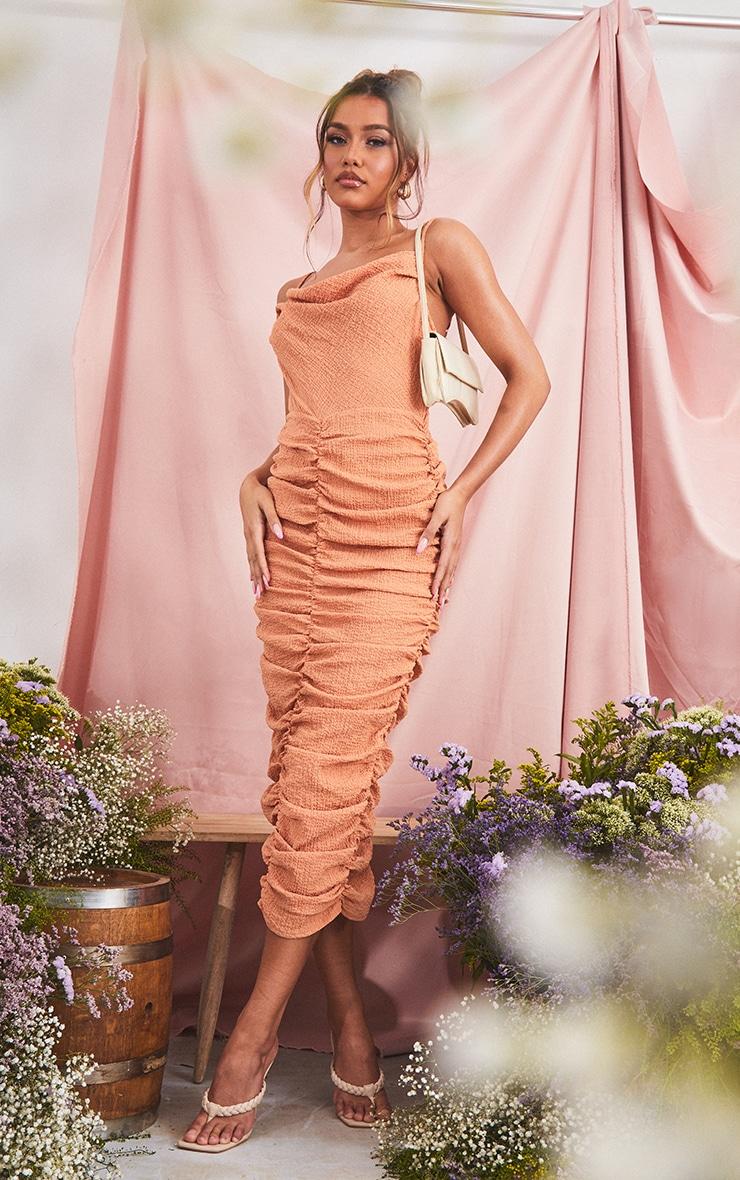 Orange Textured Strappy Cowl Neck Ruched Midaxi Dress 3