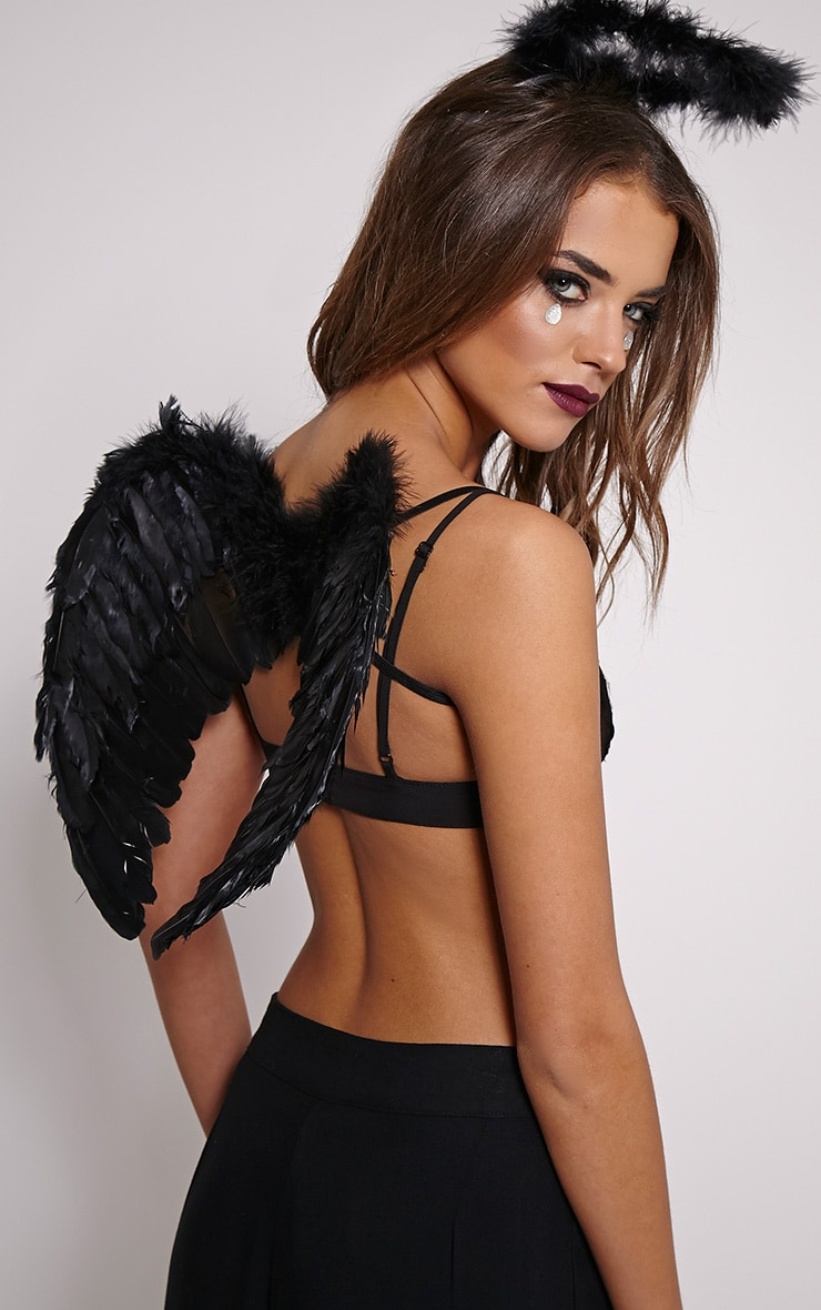 Black Fallen Angel Feather Wings 1