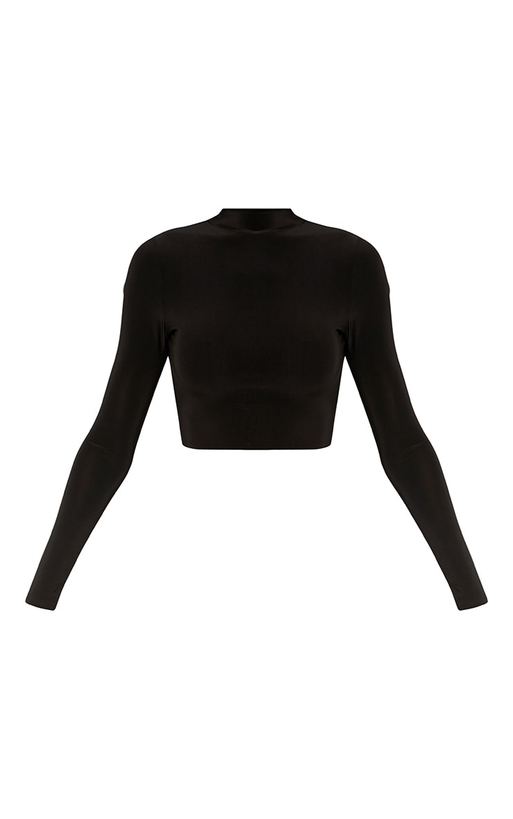 Rio Black Slinky High Neck Long  Sleeve Crop Top 3