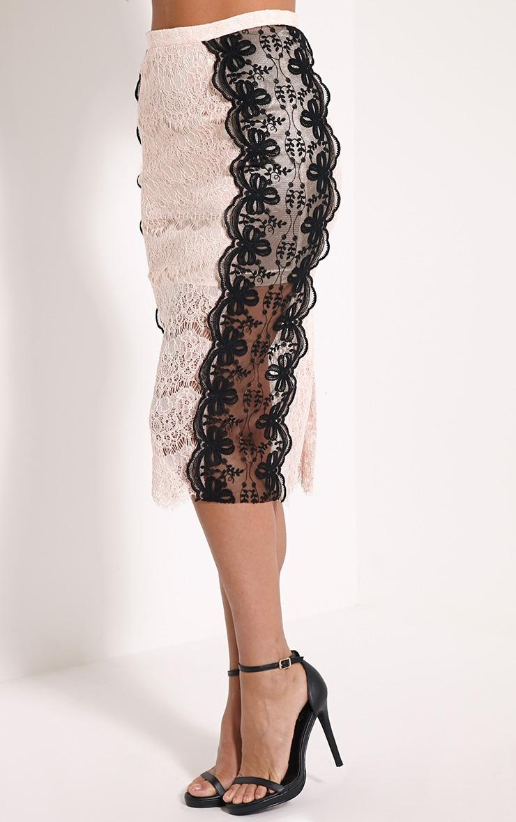Ani Nude Lace Midi Skirt 3