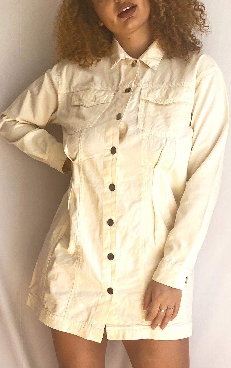 Plus Ecru Pocket Detail Button Down Denim Shirt Dress 4