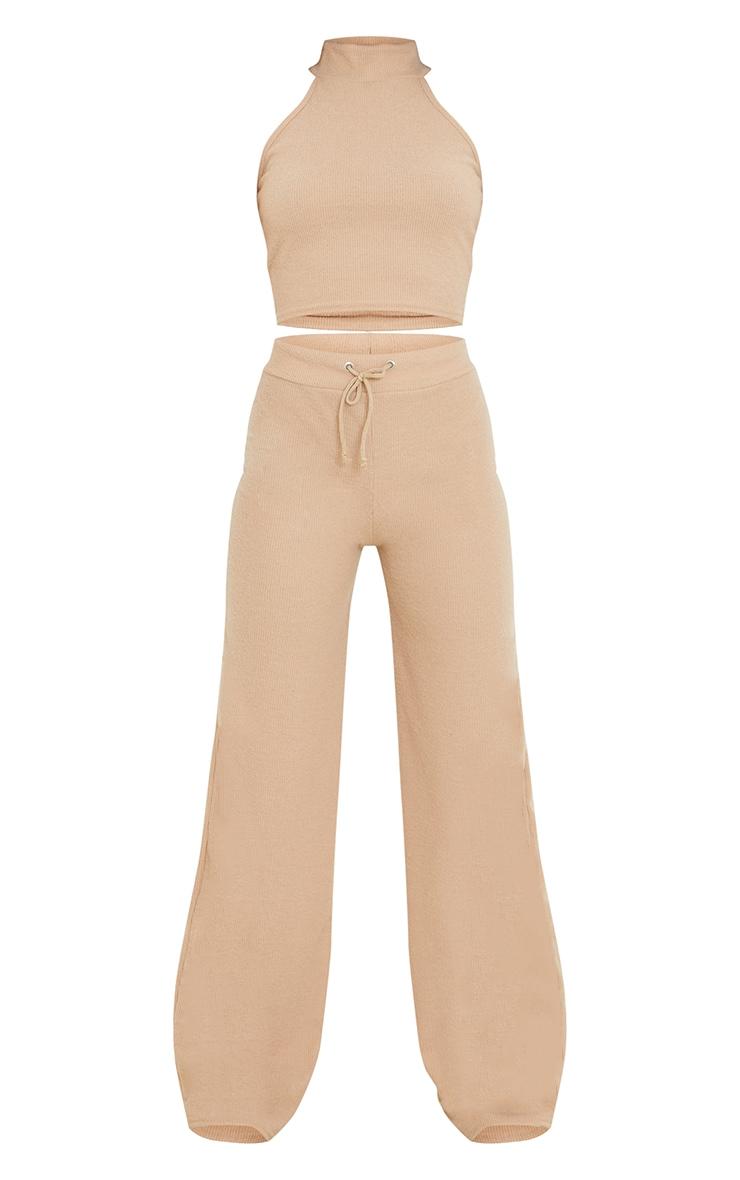 Stone Soft Brushed Rib High Neck Sleeveless Crop Top & Wide Leg Trouser Set 5