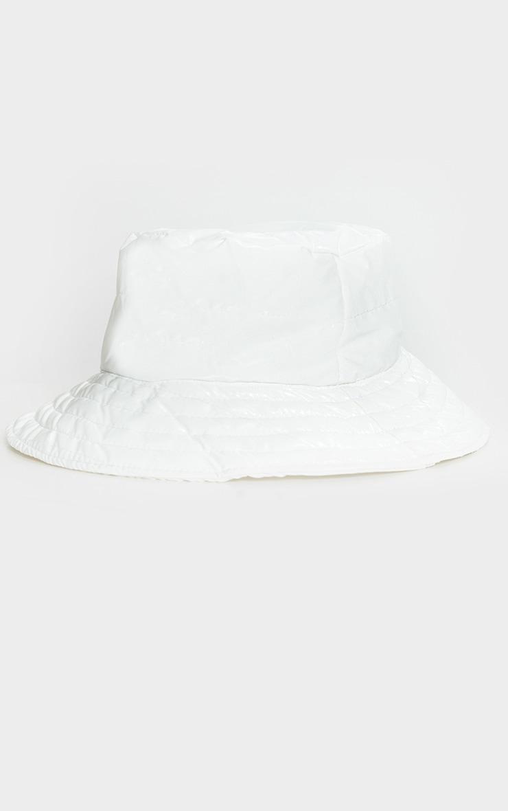 White Padded Bucket Hat 2