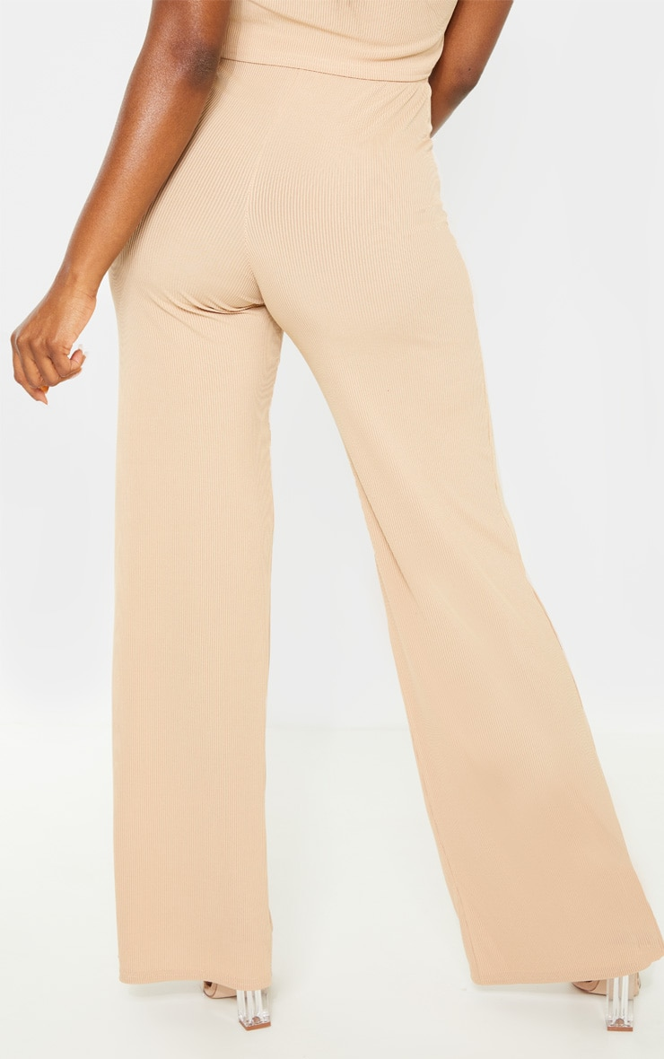 Petite Nude Ribbed Wide Leg Trousers 4