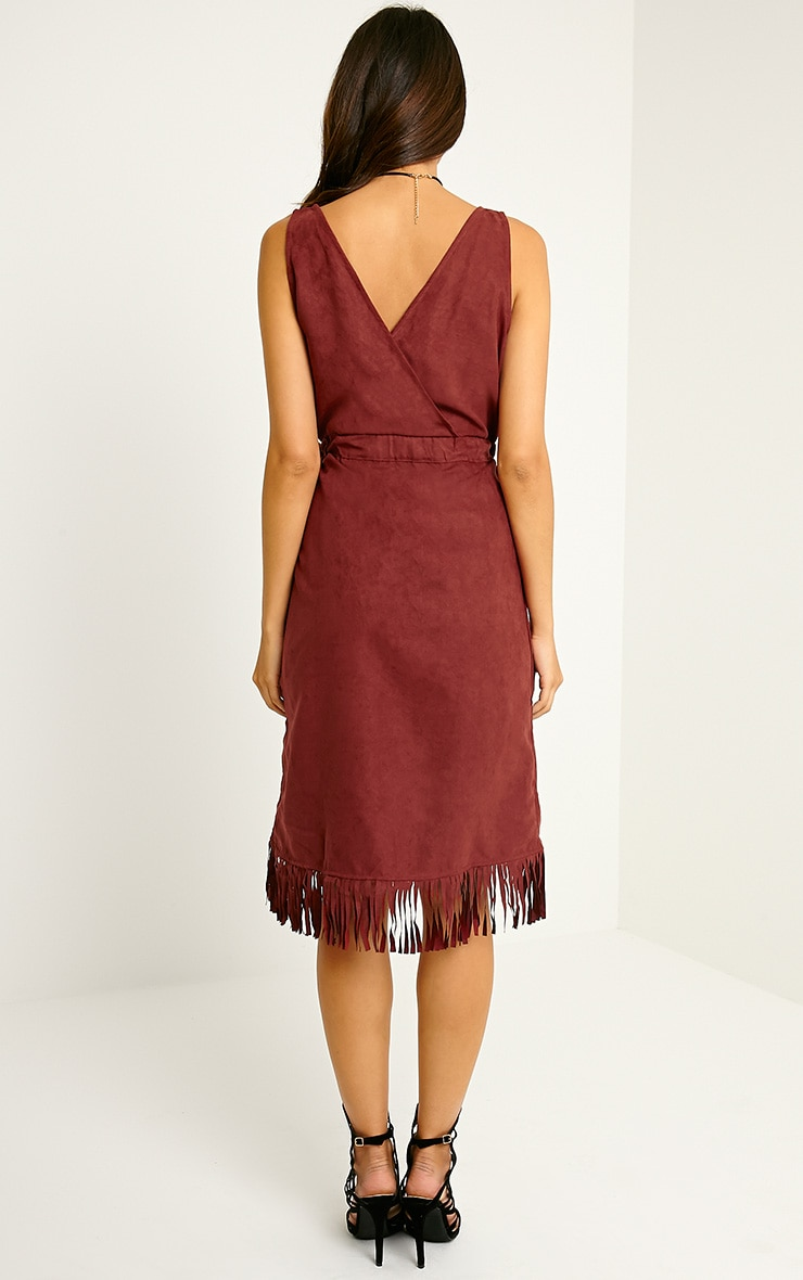Meg Burgundy Suede Wrap Tassel Dress 2
