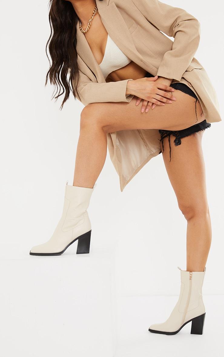 Cream PU Square Toe Western Boots 2