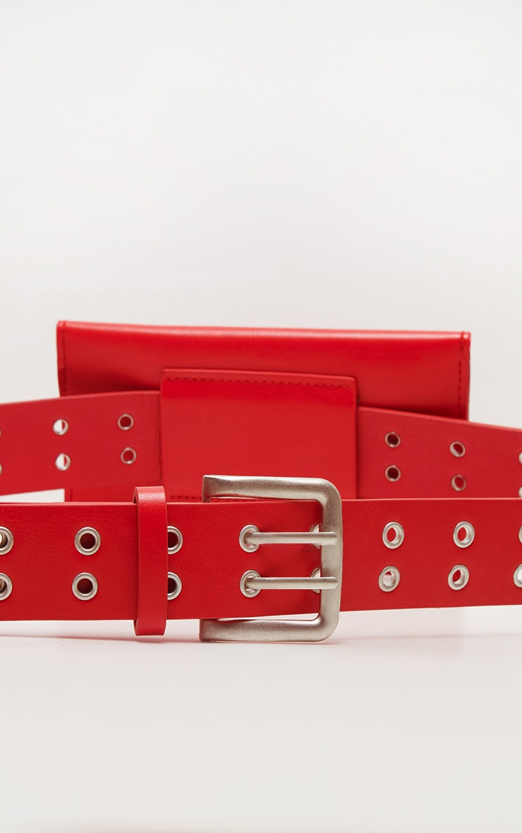Red Eyelet Ring Belted Bum Bag 3