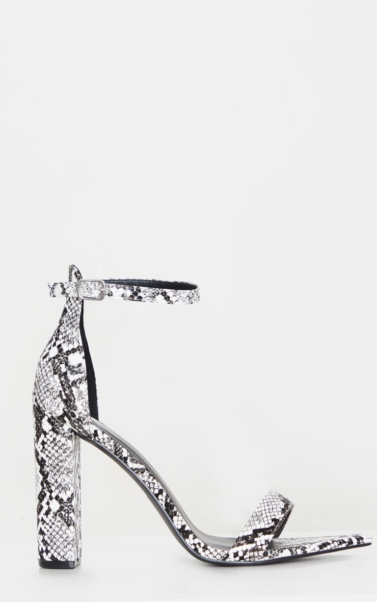 Grey Snake Point Toe Block Heel Sandal 3
