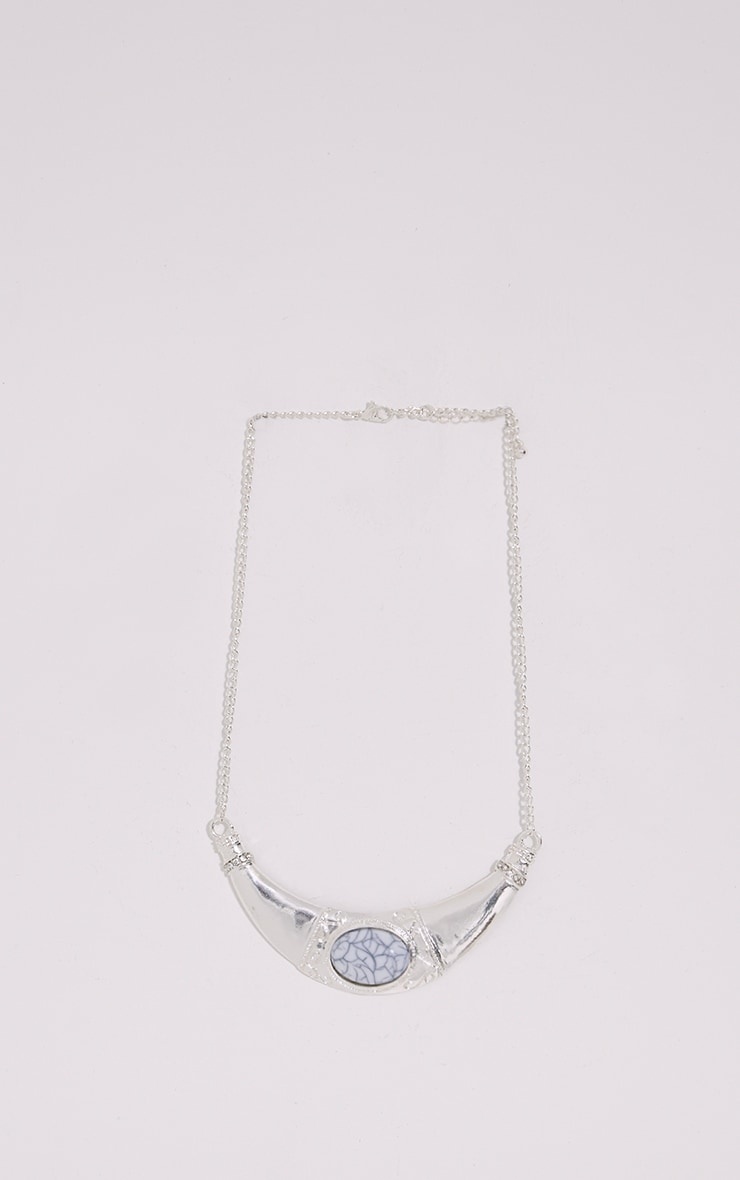 Miry Silver Tribal Stone Necklace 3