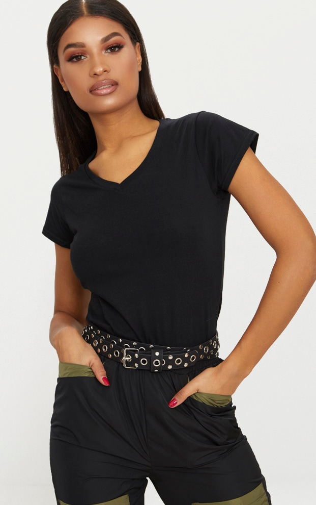 Basic Black Fitted V Neck Jersey T Shirt 1