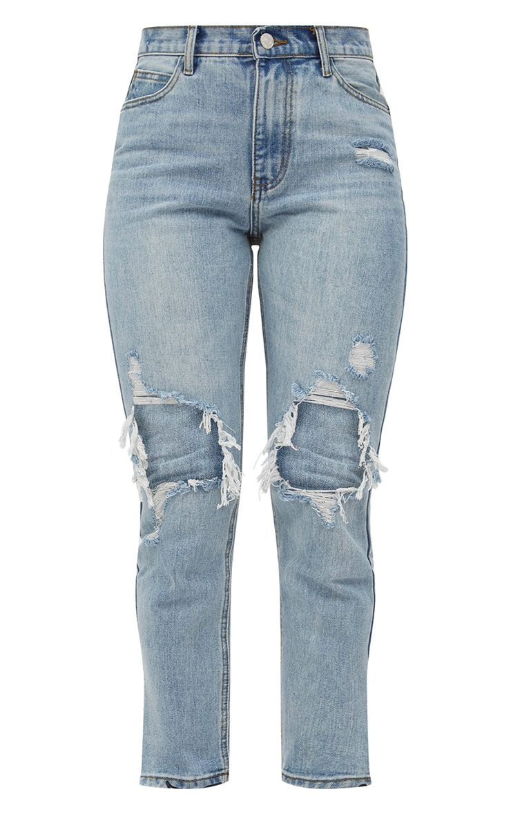 Light Wash Open Knee Step Hem Mom Jean 3