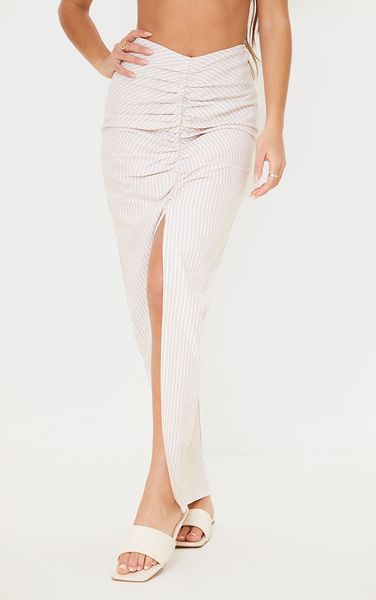 Stone Stripe Linen Look Ruched Detail Midaxi Skirt 2